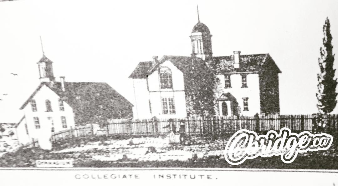 Early artist rendering of Galt Collegiate found on a map dated 1875