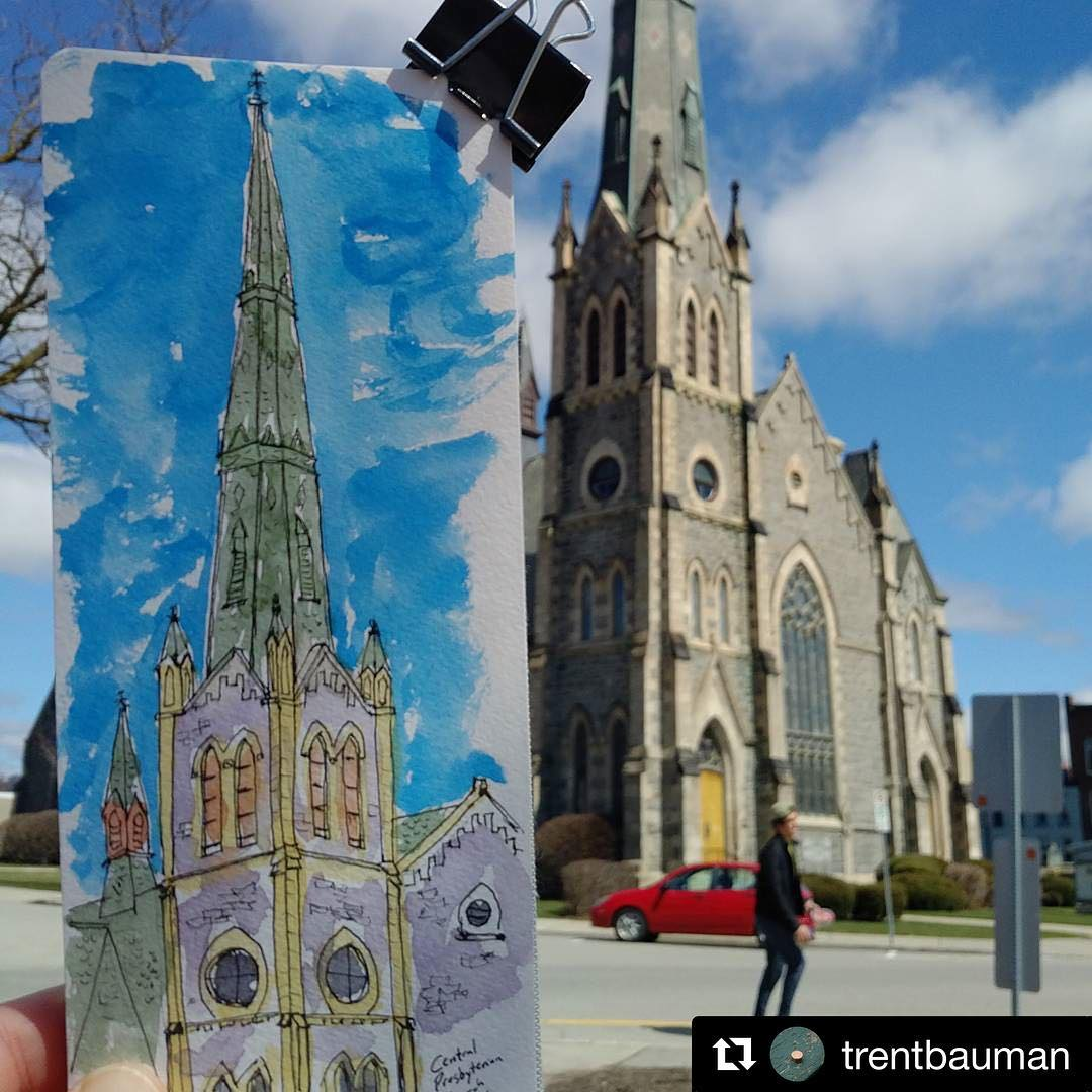 @trentbauman with @repostapp ??? Sketching the church (one of many) downtown Galt