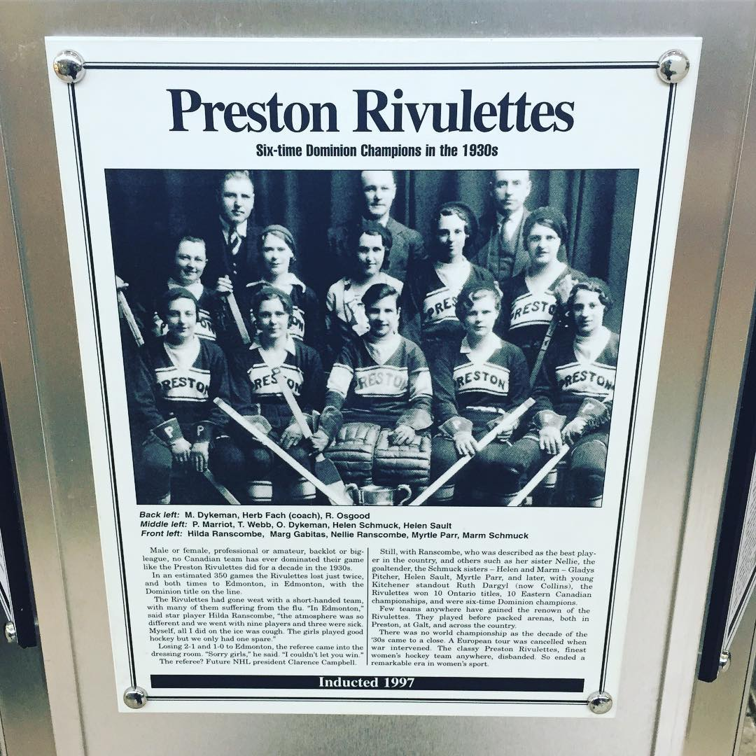 Checking out the Preston Rivulettes in the #cbridge Sports Hall of Fame @cambridgecentre. Did you know the Rivulettes were one of the highest winning hockey teams of all time? 350 games and only 2 losses. #hometownhockey