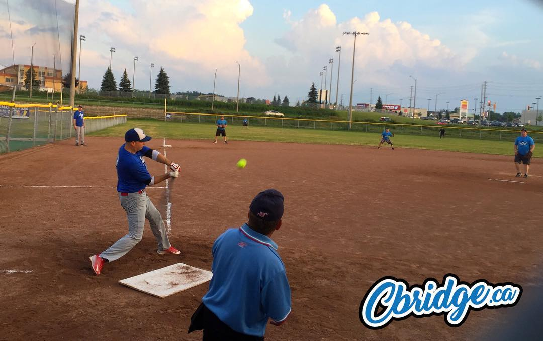 Going yard on a nice night for slo-pitch #cbridge #mycbridge