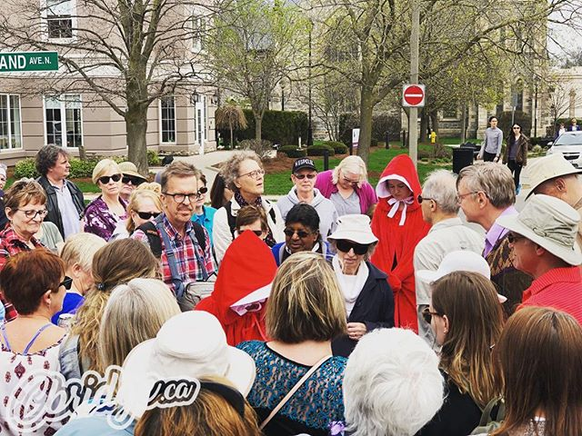 Big crowd out for the Handmaid's Tale Jane's Walk in Galt today #cbridge #mycbridge